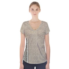 Abstract Background With Floral Orn Illustration Background With Swirls Short Sleeve Front Detail Top