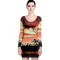 Autumn Song Autumn Spreading Its Wings All Around Long Sleeve Bodycon Dress