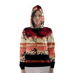 Autumn Song Autumn Spreading Its Wings All Around Hooded Wind Breaker (women)