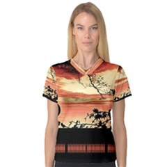 Autumn Song Autumn Spreading Its Wings All Around Women s V-Neck Sport Mesh Tee