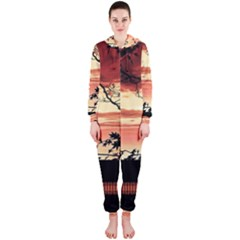 Autumn Song Autumn Spreading Its Wings All Around Hooded Jumpsuit (ladies)