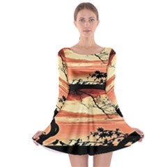 Autumn Song Autumn Spreading Its Wings All Around Long Sleeve Skater Dress