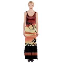 Autumn Song Autumn Spreading Its Wings All Around Maxi Thigh Split Dress