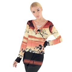 Autumn Song Autumn Spreading Its Wings All Around Women s Tie Up Tee