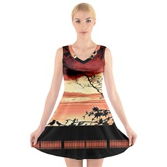 Autumn Song Autumn Spreading Its Wings All Around V Neck Sleeveless Skater Dress
