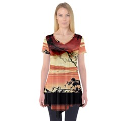 Autumn Song Autumn Spreading Its Wings All Around Short Sleeve Tunic