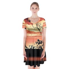 Autumn Song Autumn Spreading Its Wings All Around Short Sleeve V Neck Flare Dress