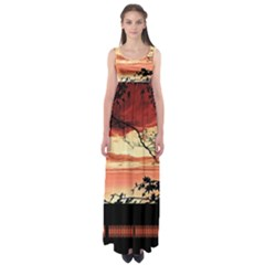 Autumn Song Autumn Spreading Its Wings All Around Empire Waist Maxi Dress