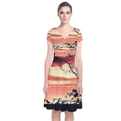 Autumn Song Autumn Spreading Its Wings All Around Short Sleeve Front Wrap Dress