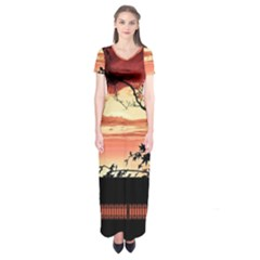 Autumn Song Autumn Spreading Its Wings All Around Short Sleeve Maxi Dress