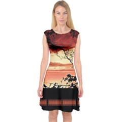 Autumn Song Autumn Spreading Its Wings All Around Capsleeve Midi Dress