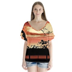 Autumn Song Autumn Spreading Its Wings All Around Flutter Sleeve Top