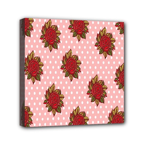 Pink Polka Dot Background With Red Roses Mini Canvas 6  x 6