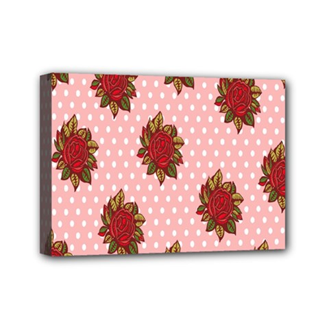 Pink Polka Dot Background With Red Roses Mini Canvas 7  x 5