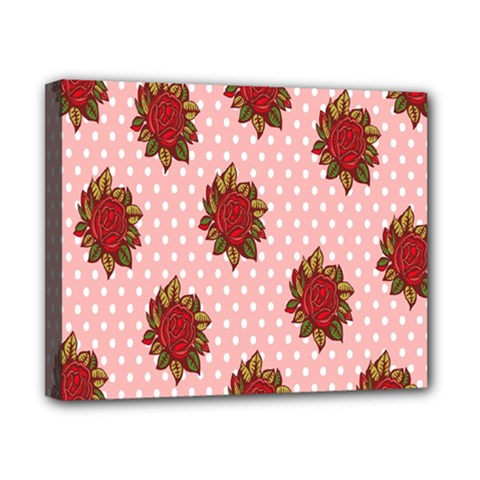Pink Polka Dot Background With Red Roses Canvas 10  x 8