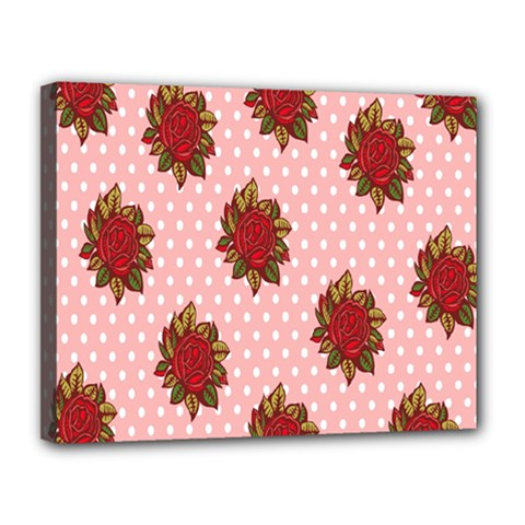 Pink Polka Dot Background With Red Roses Canvas 14  X 11