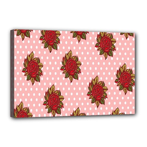 Pink Polka Dot Background With Red Roses Canvas 18  X 12