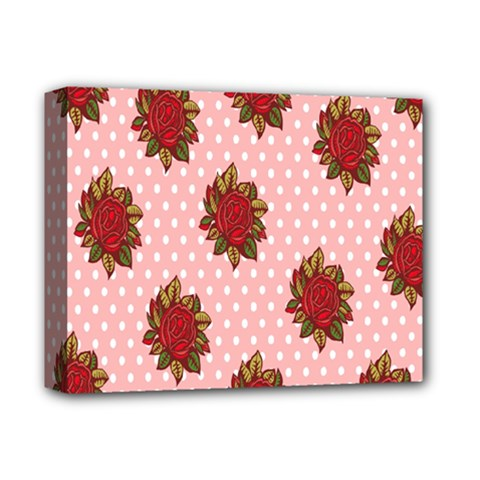 Pink Polka Dot Background With Red Roses Deluxe Canvas 14  x 11