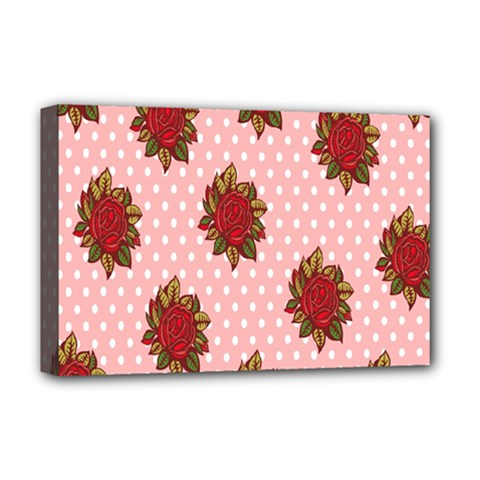 Pink Polka Dot Background With Red Roses Deluxe Canvas 18  x 12