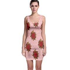 Pink Polka Dot Background With Red Roses Sleeveless Bodycon Dress