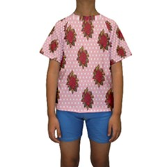 Pink Polka Dot Background With Red Roses Kids  Short Sleeve Swimwear