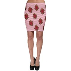 Pink Polka Dot Background With Red Roses Bodycon Skirt
