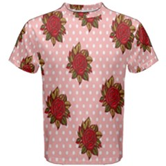 Pink Polka Dot Background With Red Roses Men s Cotton Tee