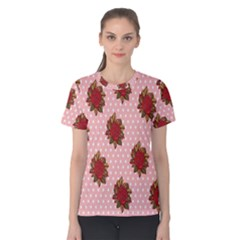 Pink Polka Dot Background With Red Roses Women s Cotton Tee