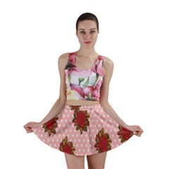 Pink Polka Dot Background With Red Roses Mini Skirt
