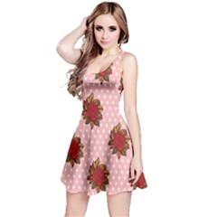 Pink Polka Dot Background With Red Roses Reversible Sleeveless Dress