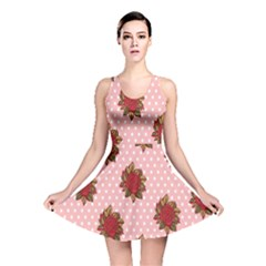 Pink Polka Dot Background With Red Roses Reversible Skater Dress