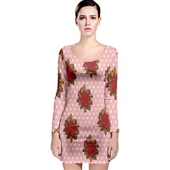Pink Polka Dot Background With Red Roses Long Sleeve Bodycon Dress