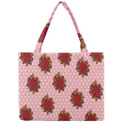 Pink Polka Dot Background With Red Roses Mini Tote Bag