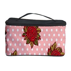 Pink Polka Dot Background With Red Roses Cosmetic Storage Case