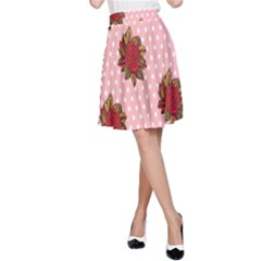 Pink Polka Dot Background With Red Roses A-Line Skirt