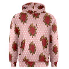 Pink Polka Dot Background With Red Roses Men s Pullover Hoodie