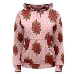 Pink Polka Dot Background With Red Roses Women s Pullover Hoodie