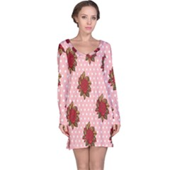 Pink Polka Dot Background With Red Roses Long Sleeve Nightdress