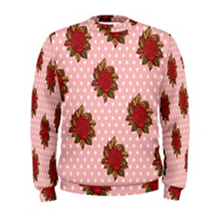 Pink Polka Dot Background With Red Roses Men s Sweatshirt