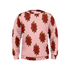 Pink Polka Dot Background With Red Roses Kids  Sweatshirt
