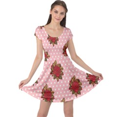 Pink Polka Dot Background With Red Roses Cap Sleeve Dresses