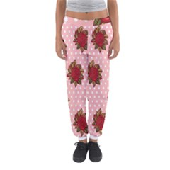Pink Polka Dot Background With Red Roses Women s Jogger Sweatpants