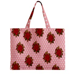 Pink Polka Dot Background With Red Roses Zipper Mini Tote Bag