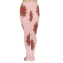 Pink Polka Dot Background With Red Roses Women s Tights