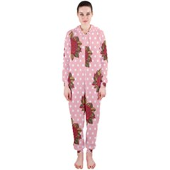 Pink Polka Dot Background With Red Roses Hooded Jumpsuit (Ladies)