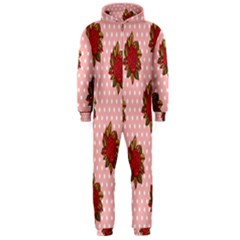 Pink Polka Dot Background With Red Roses Hooded Jumpsuit (Men)
