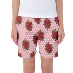 Pink Polka Dot Background With Red Roses Women s Basketball Shorts