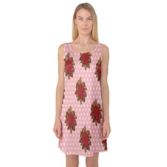 Pink Polka Dot Background With Red Roses Sleeveless Satin Nightdress