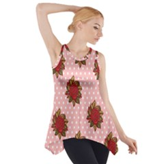 Pink Polka Dot Background With Red Roses Side Drop Tank Tunic