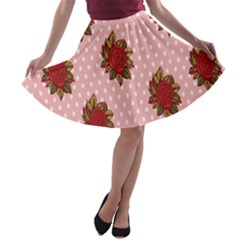 Pink Polka Dot Background With Red Roses A-line Skater Skirt